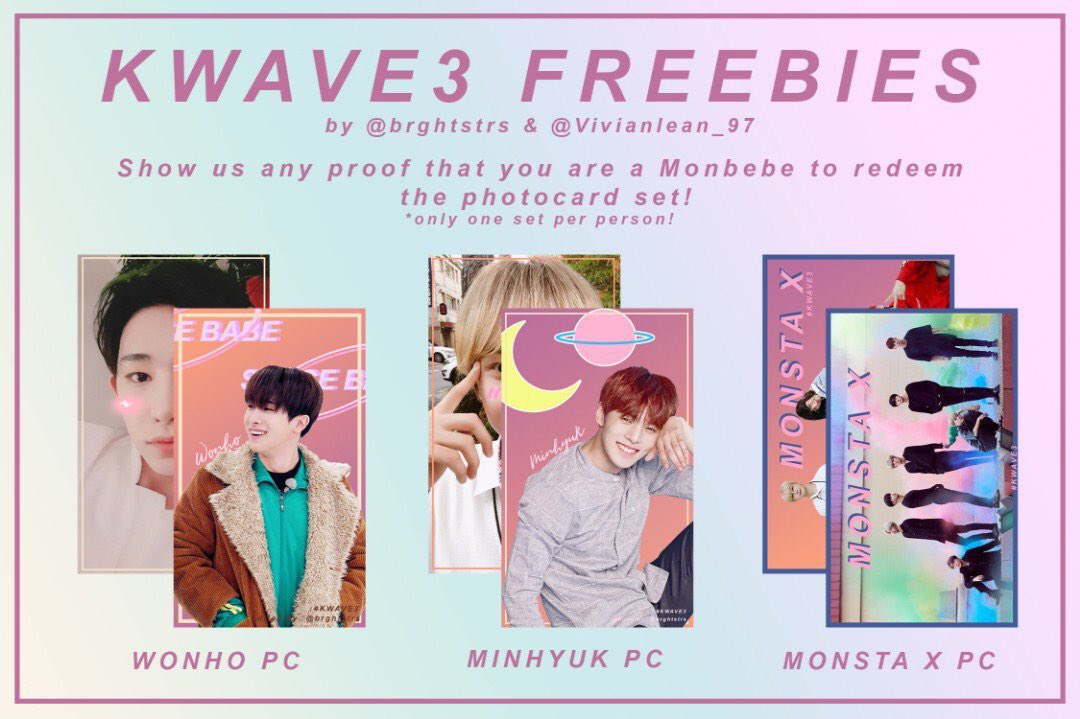 We (collaborate with @Vivianlean_97 ) will be giving out 300+ sets of monsta x  photocard set on D-day   Place : TBA   Monbebes , see you there   #KWAVE3MusicFestival #Kwave<br>http://pic.twitter.com/eCva2V9fg9