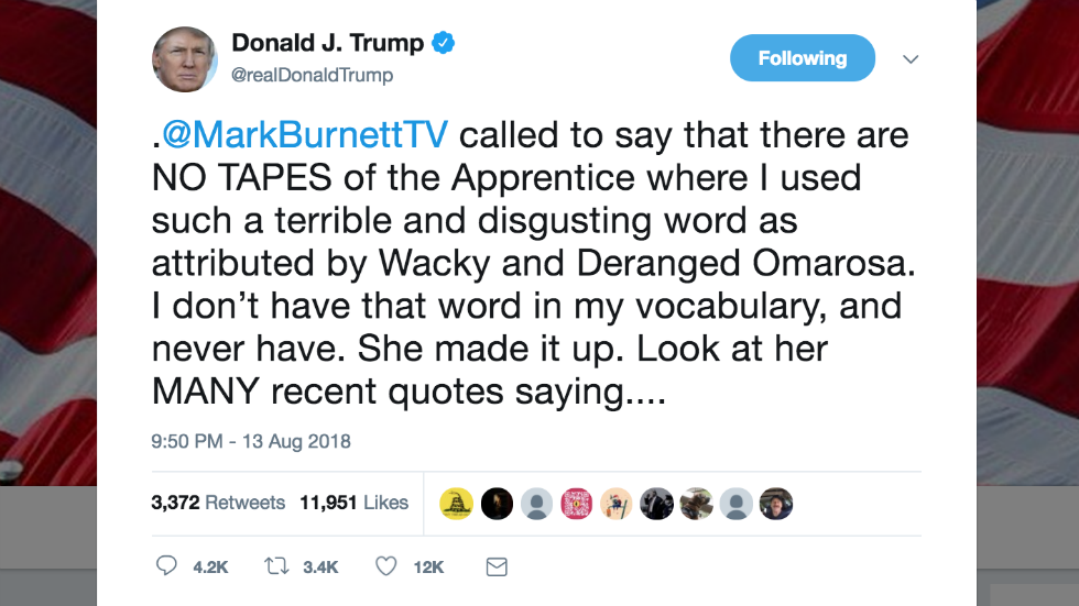"""Trump says Apprentice creator assured him there are """"NO TAPES"""" of him using the N-word https://t.co/4T09QUTPvm"""