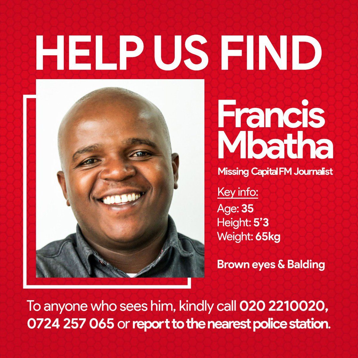 Please help us get the word out there and locate Francis. @CapitalFMKenya<br>http://pic.twitter.com/3jzRxYsQ0J