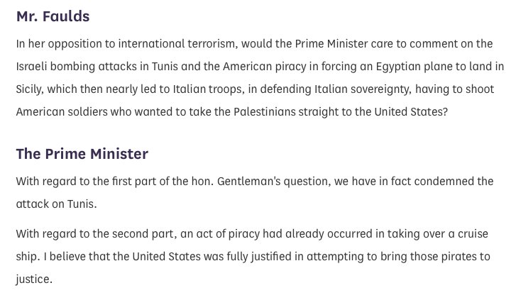 Worth recalling in a short thread: Then Prime Minister Margaret Thatcher condemned in 1985 the Israeli airstrike in Tunis that Corbyns now attacked for attending a 2014 commemoration. Hansard PMQs: hansard.parliament.uk/commons/1985-1…