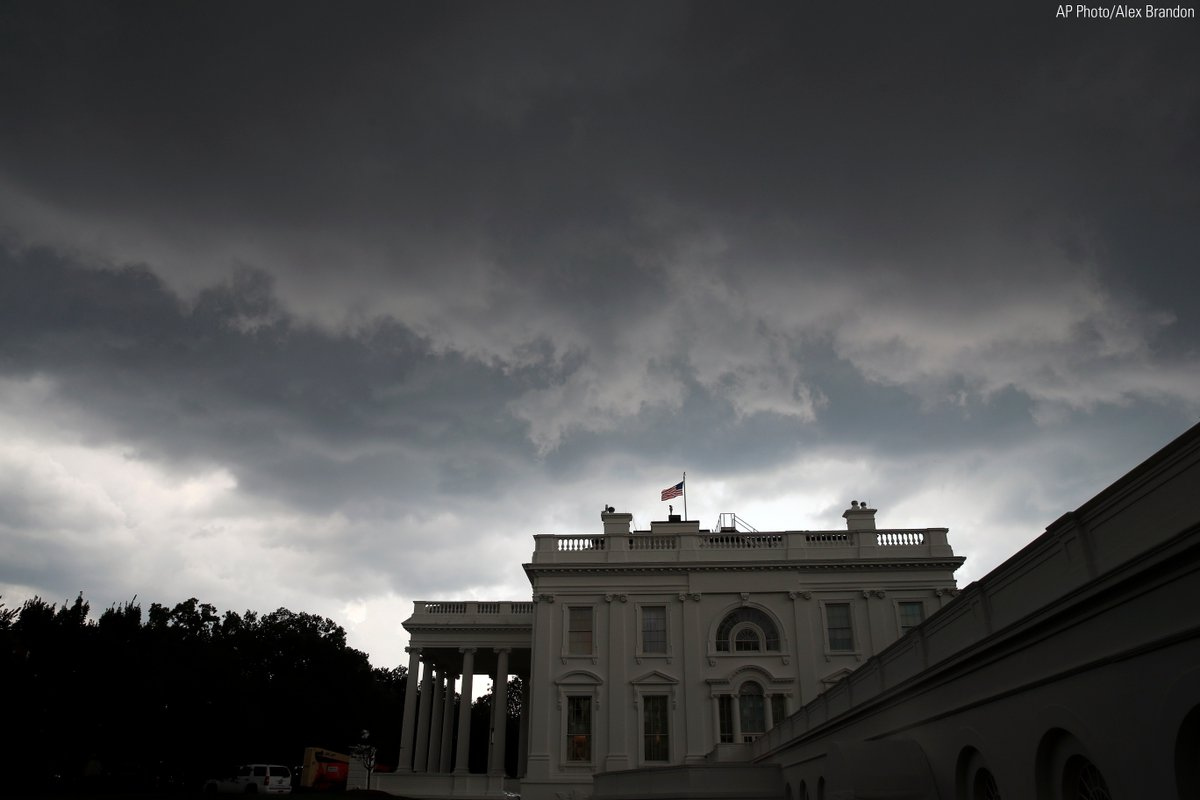 Storm clouds move above the @WhiteHouse as rain moves into the area on Monday.