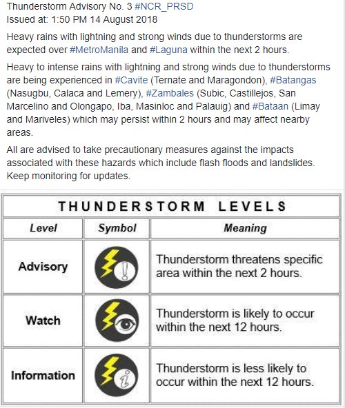 Thunderstorm Advisory No. 3 #NCR_PRSD Issued at: 1:50 PM 14 August 2018