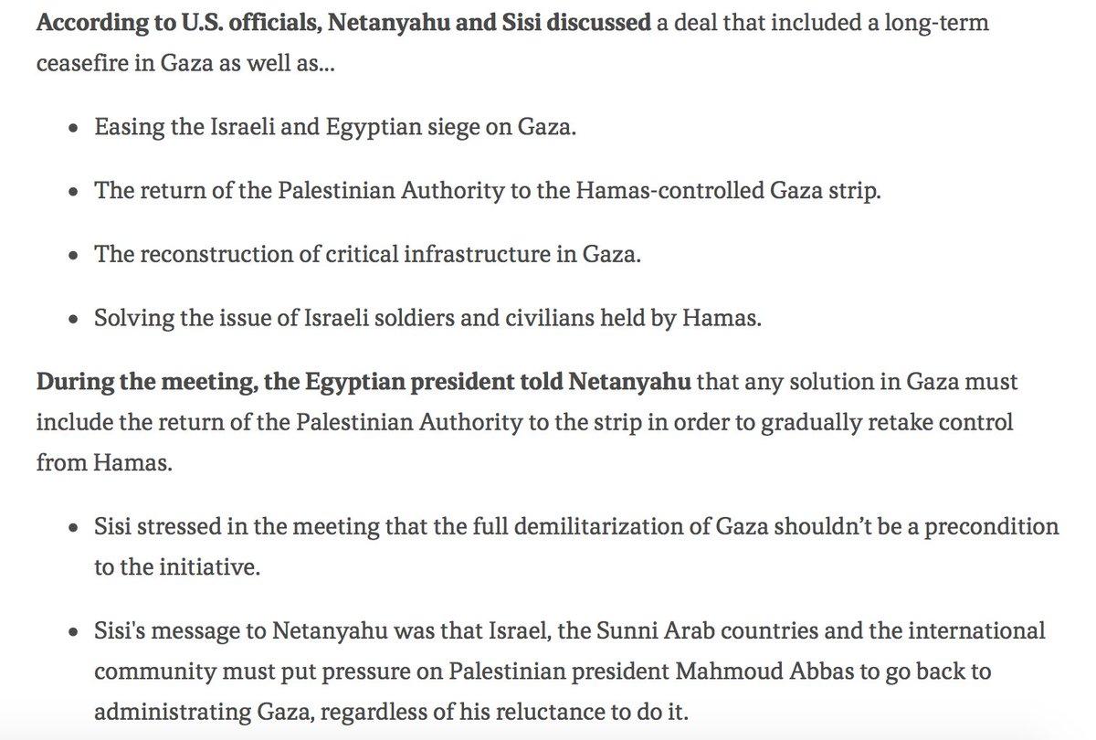 #Israël/#Égypte/#Gaza Sur cette rencontre secrète Nétanyahou-Sissi, les principaux points de discussion: - Cessez-le-feu long terme- Allègement du blocus- Retour de l\