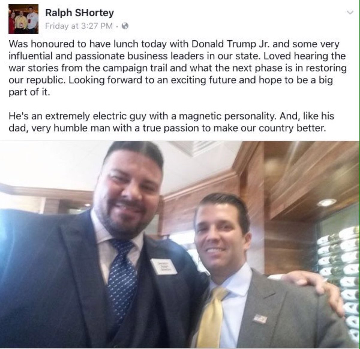 #RalphShortey, who was arrested at a hotel w a teen boy, meets with Don Jr. the very next day. He was recently charged with sex trafficking <br>http://pic.twitter.com/JFuEVxqbOI