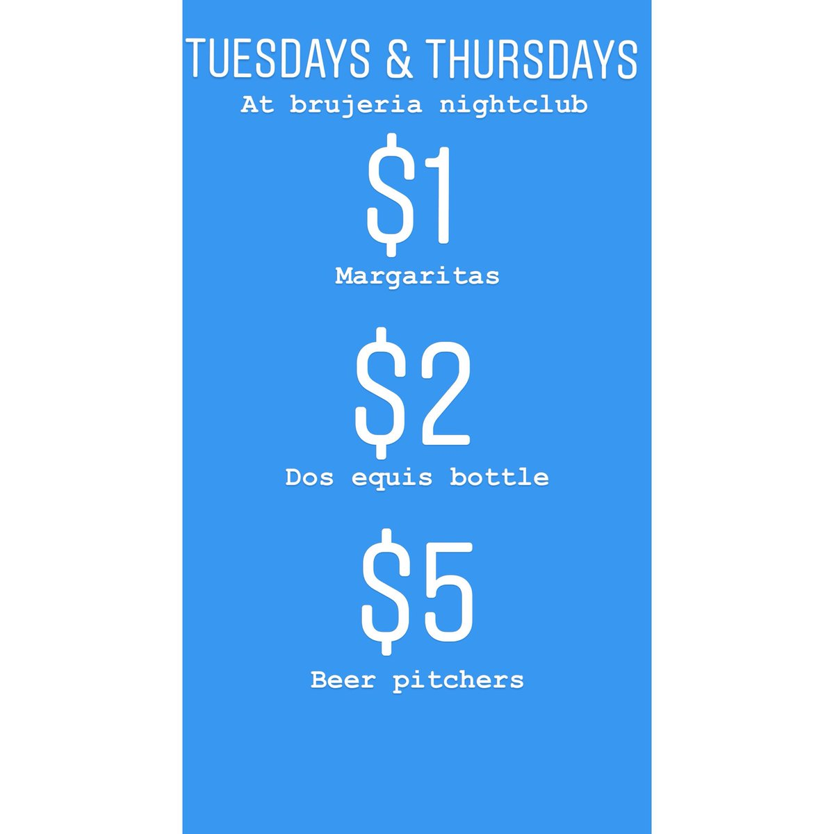 Tuesday and Thursday specials, #RT this , #BrujeriaDT THE PARTY PLACE TO BE. https://t.co/eEpHVGBQJ8