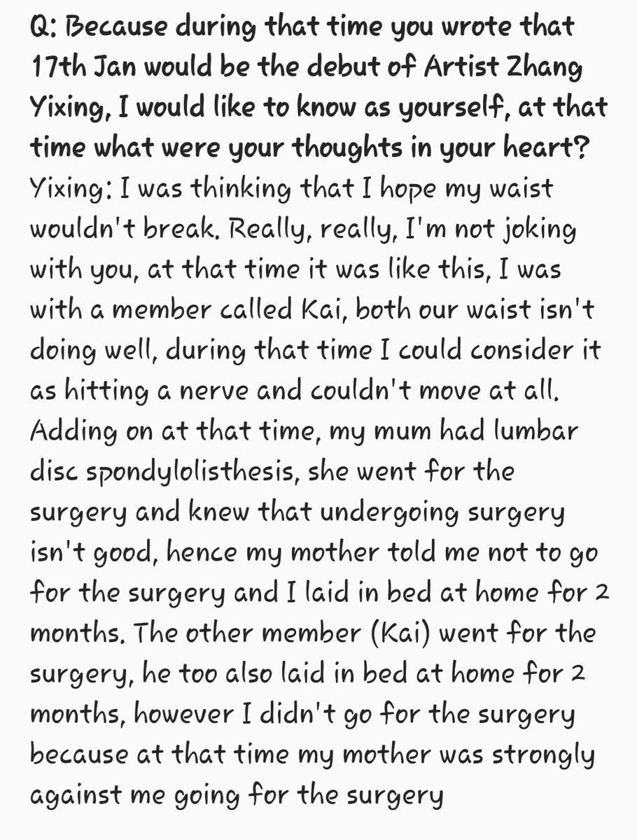 My heart hurts knowing that they have to go through this. Jongin had a surgery, even though Yixing didn&#39;t, both of them laid in bed for 2 months. Our hardworking &amp; passionate Jongin &amp; Yixing, you deserve the world, you&#39;ve worked so hard, always know we are beyond proud of you two <br>http://pic.twitter.com/cCOdZwxGPF
