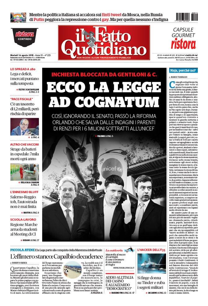 LA PRIMA PAGINA DI OGGIEcco la legge ad cognatum [Continua su  https:// www.ilfattoquotidiano.it/premium/] #FattoQuotidiano #edicola #14agosto  - Ukustom
