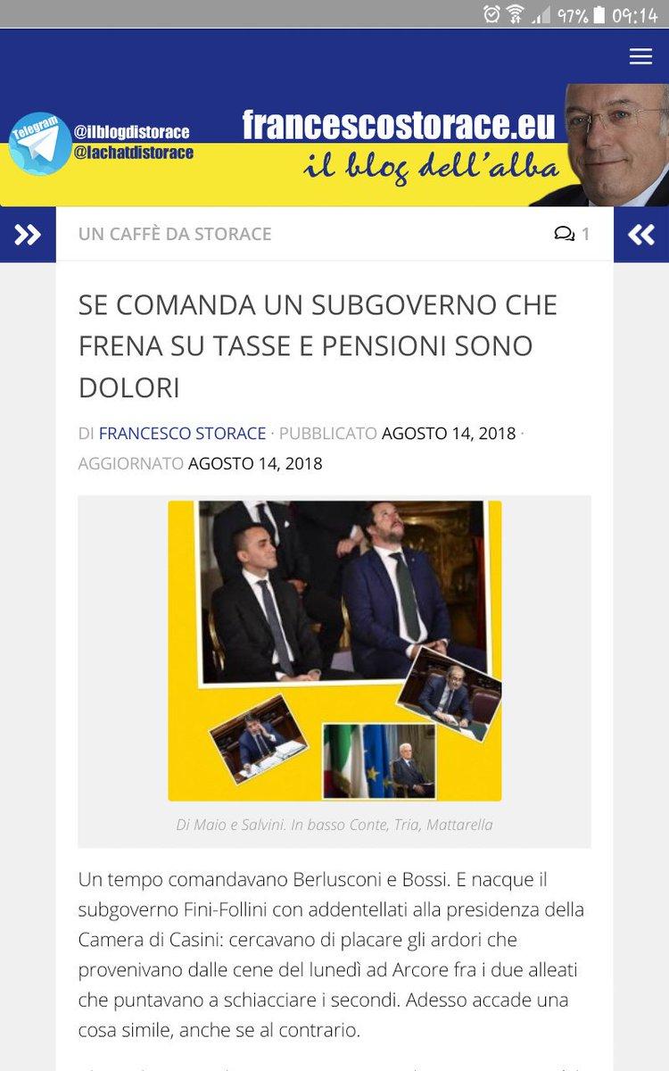 @Storace #editoriale SE COMANDA UN SUBGOVERNO CHE FRENA SU #TASSE #PENSIONI SONO DOLORI.[Pg che ci fa riflettere.Impariamo dla storia-recente]#Governo  nato per volontà #eurocritica #Salvini #Conte #TriaOgni gg Via #Telegram #ilblogdellAlba #Storace#news  #infolibera@a_meluzzi  - Ukustom