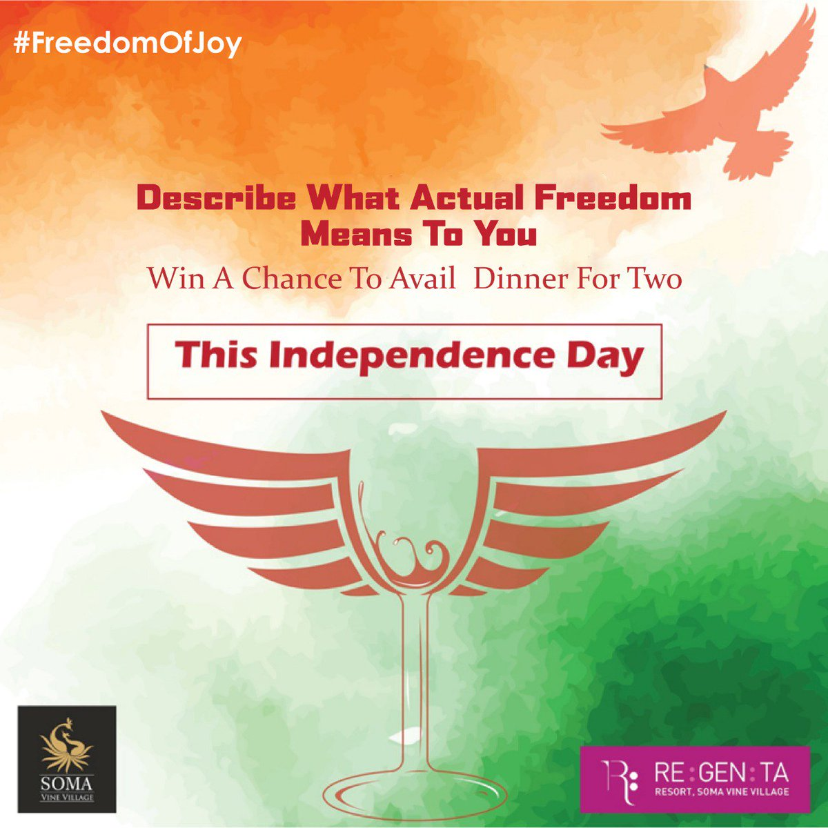 #freedomofJoy This independence celebrate the #IndependenceDay2018 with us in simply 2 steps 1. Describe what actual freedom means according to you 2. Follow and #RETWEEET  The best description will get a chance to win a dinner for two @SomaVineVillage  #ContestAlert #participate<br>http://pic.twitter.com/Cv35Pdb9BG