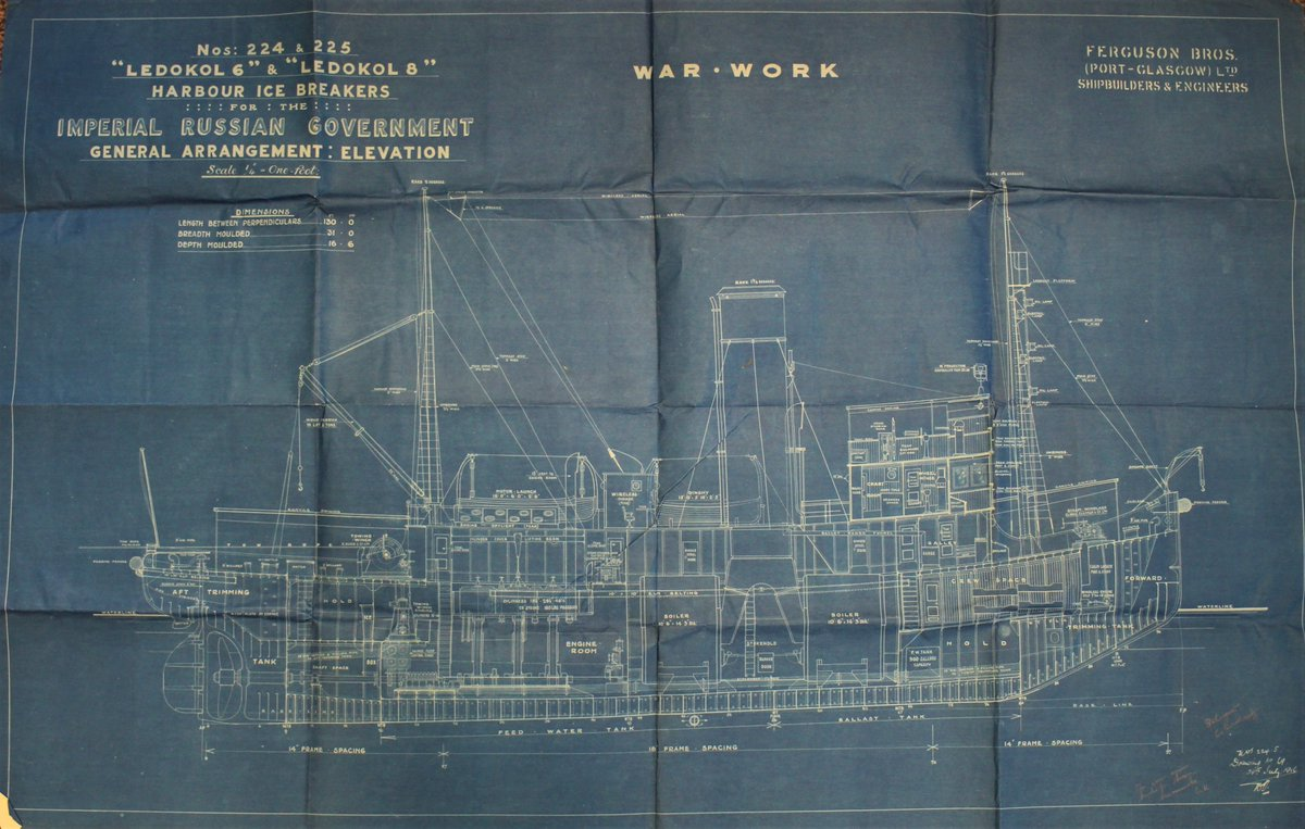 Fantastic donation today of some blueprints of Icebreakers Ledokov 6 &amp; 8 for the Imperial Russian Government, 1916 - launched 15 years after another Scottish built polar vessel @DiscoveryDundee @Scotmaritime<br>http://pic.twitter.com/2pOGiGVe7k