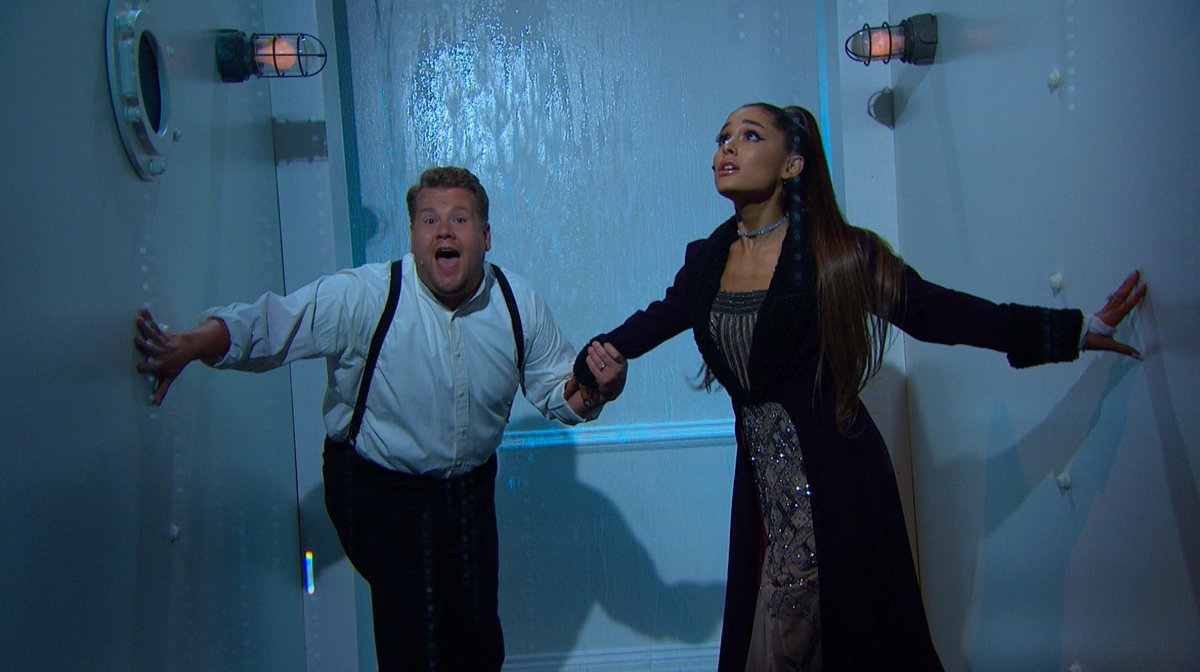 .@ArianaGrande recreates famous Titanic scenes with the help of @JKCorden https://t.co/LY2SDEGCgJ https://t.co/SFGsEvL0yr