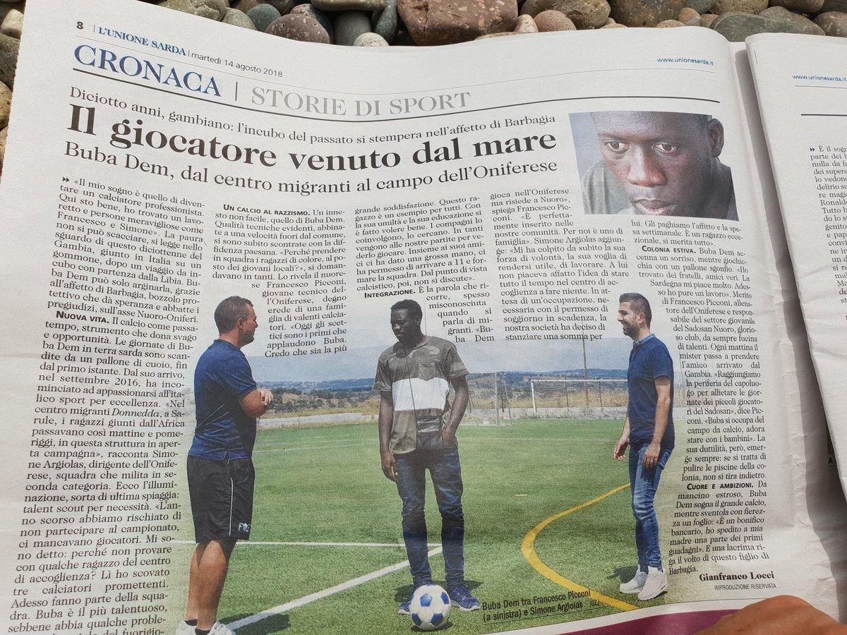 Oggi su @UnioneSarda la bella storia di Buba, giocatore venuto dal mare,ora figlio della Barbagia #Sardegna Lo #sport si coniuga male con il #razzismo e unisce più di ogni altra cosa.  - Ukustom