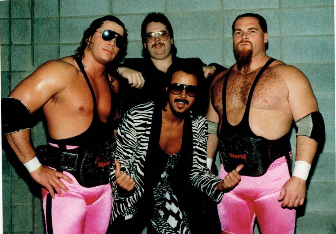 Back in the day my buddy John Fitz-Gerald wrote a must-read wrestling col (with ledes like 'Listen Up Maggots ...') for the Calgary Sun. Here he is with the Hart Foundation including the late Jim (The Anvil) Neidhart who passed away yesterday. #rip Anvil.
