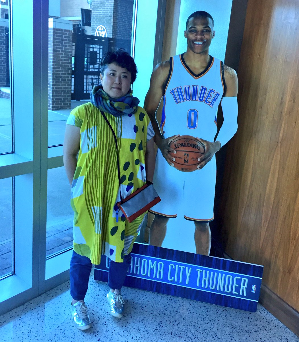 """Nanae Yamano, the Thunder fan artist in Japan, didn't get to meet Russell Westbrook when she visited Oklahoma City. But last night she went to his event in Tokyo. And then this happened. """"Finally, @7A_mountain""""  says, """"I met himhttps://t.co/DnAvWswe9J."""""""