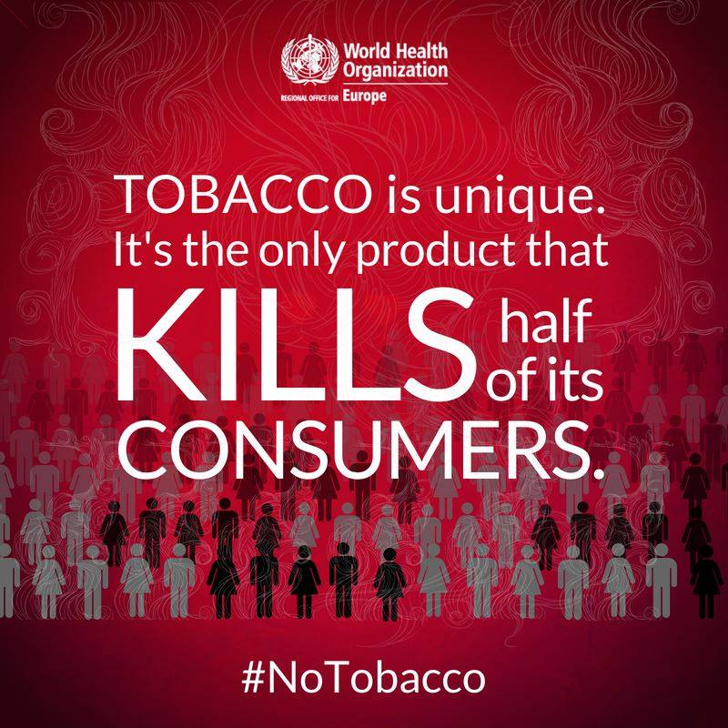 Tobacco is the only product that kills half of its consumers.  Choose health, sa #NoTobaccoy ! https://t.co/TsGLqFQcIx🚭