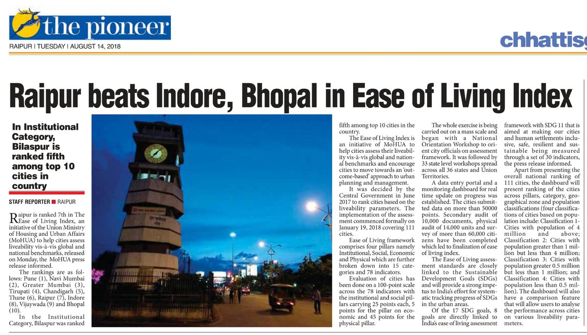 Raipur beats Indore, Bhopal in Ease of Living Index  https://www. dailypioneer.com/state-editions /raipur/raipur-beats-indore-bhopal-in-ease-of-living-index.html &nbsp; …  via @TheDailyPioneer @narendramodi @PMOIndia @AmitShah @drramansingh @CGAbhishekSingh @Um1111um @36garhinfodelhi @DPRChhattisgarh @RaipurDist @RaipurSmartCity @morraipur @HardeepSPuri @SmartCities_HUA<br>http://pic.twitter.com/GOvmC0O5ND