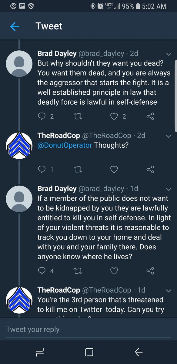 Guys, I&#39;m not one to usually do stuff like this, so bear with me.  I am a Police Officer, who merely stated an opinion regarding the attempted murder of two troopers.  This guy then starts in on me, wanting my address to kill me and my family.  Apparently, no rules broken here! <br>http://pic.twitter.com/RjNnCTeX14