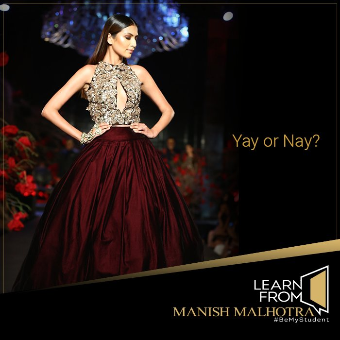 Learn From Manish Malhotra On Twitter This Simple Yet Gorgeous Burgundy Ball Gown Skirt Pairs Stunningly With A Bedazzled Crop Top Explore The Different Trends In The Fashion Industry Through The Learnfrommanishmalhotra