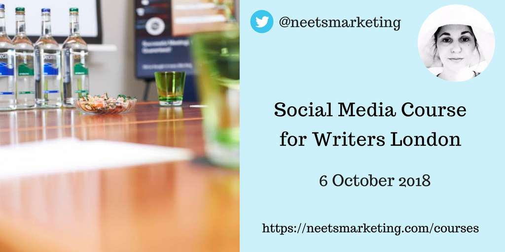 A few places left on my next one day Social Media Course for Writers, London 6 October 2018. Relaxed, informal day which includes buffet lunch in restaurant, free-flowing tea and coffee, plus afternoon cake  :  https:// neetsmarketing.com/courses/oct-20 18-london/ &nbsp; …  #TuesNews @RNAtweets<br>http://pic.twitter.com/fxHmICWOIO