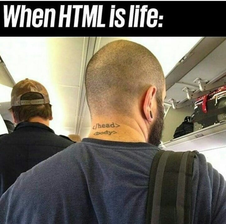 When HTML is life! #webdeveloper #webdev #webdevelopment #WebsiteDesign #webcomic #programmer #code #Coding #FunniestTweets #coder  #folloback #folloMe #for #more #Python #javascript #Java #Ruby  #AndroidDev #iOSDev #CSS #html #Programming<br>http://pic.twitter.com/rCWuFrpNNU