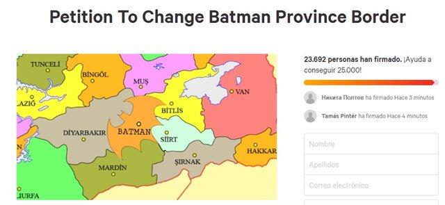 Una petición en pide modificar la frontera de Batman (Turquía) para darle la forma del logo del superhéroe Foto