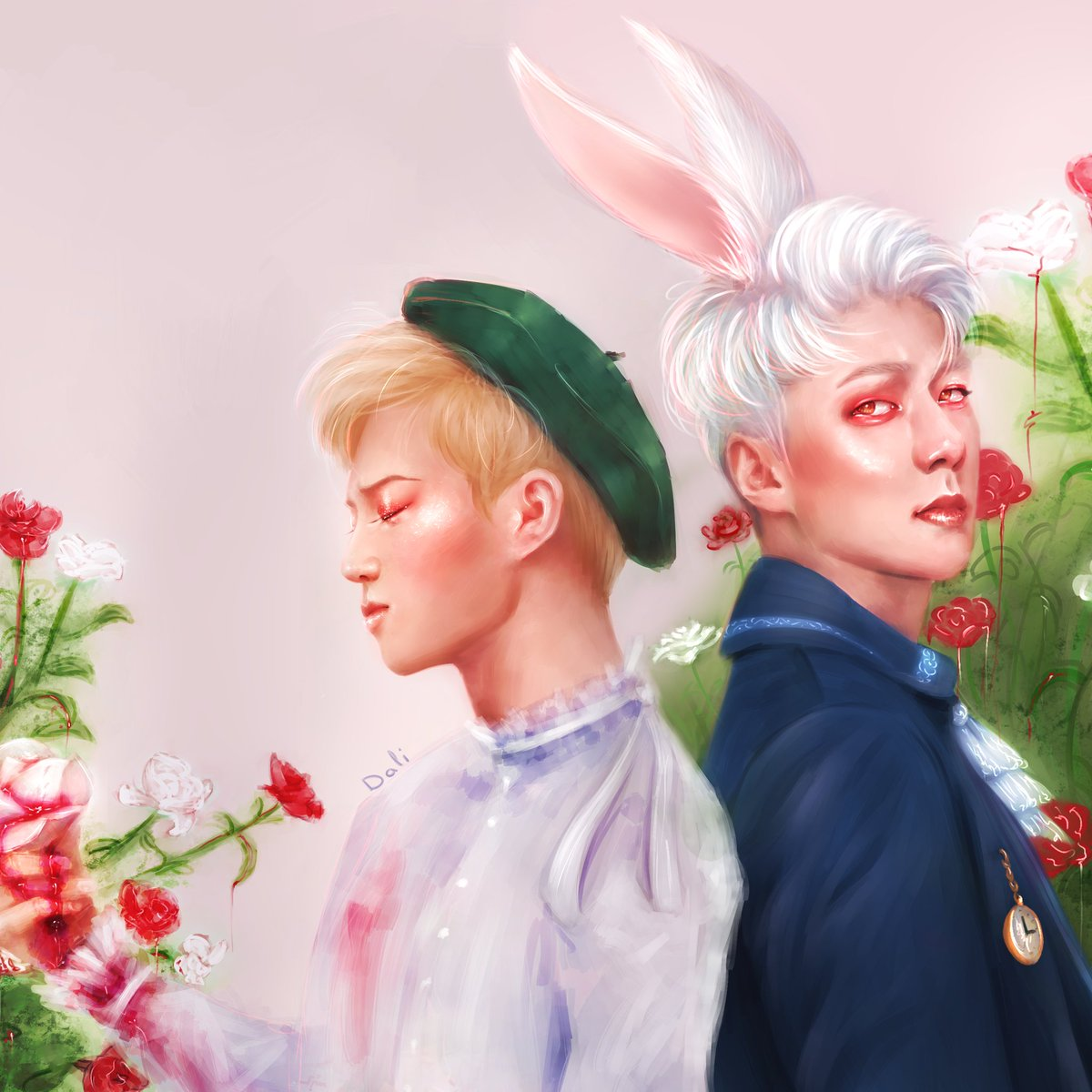 Painting roses red with blood. SeHo fanart. Junmyeon as Alice and Sehun as the White Rabbit. #EXO  #SEHUN #SUHO @weareoneEXO<br>http://pic.twitter.com/C72HDwTon3