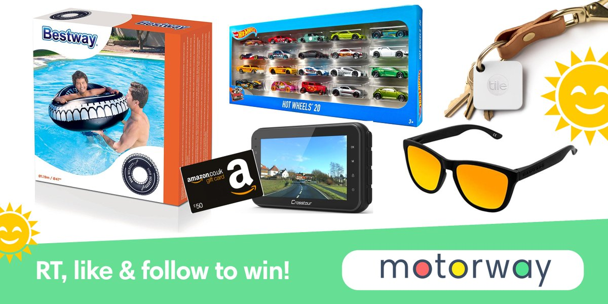 WIN A SUMMER MEGA BUNDLE! £50 Amazon Gift Card, Dash Cam, Tile Mate®, 20x Hot Wheels, tyre inflatable &amp; Hawkers sunnies. To enter, RT, like &amp; follow @motorwayhq Ts&amp;Cs:  http:// goo.gl/pnPGog  &nbsp;  , ends 24/08/18. #WIN #Competition #FreebieFriday #Giveaway #WinIt #Prize @RetweetToWinUK<br>http://pic.twitter.com/ZAUg91zC1U