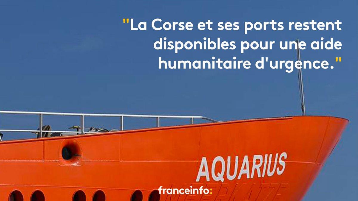 'Aquarius' : l'exécutif Corse propose à nouveau d'accueillir le navire et les migrants qu'il a secourus https://t.co/br5Ud3hL4I
