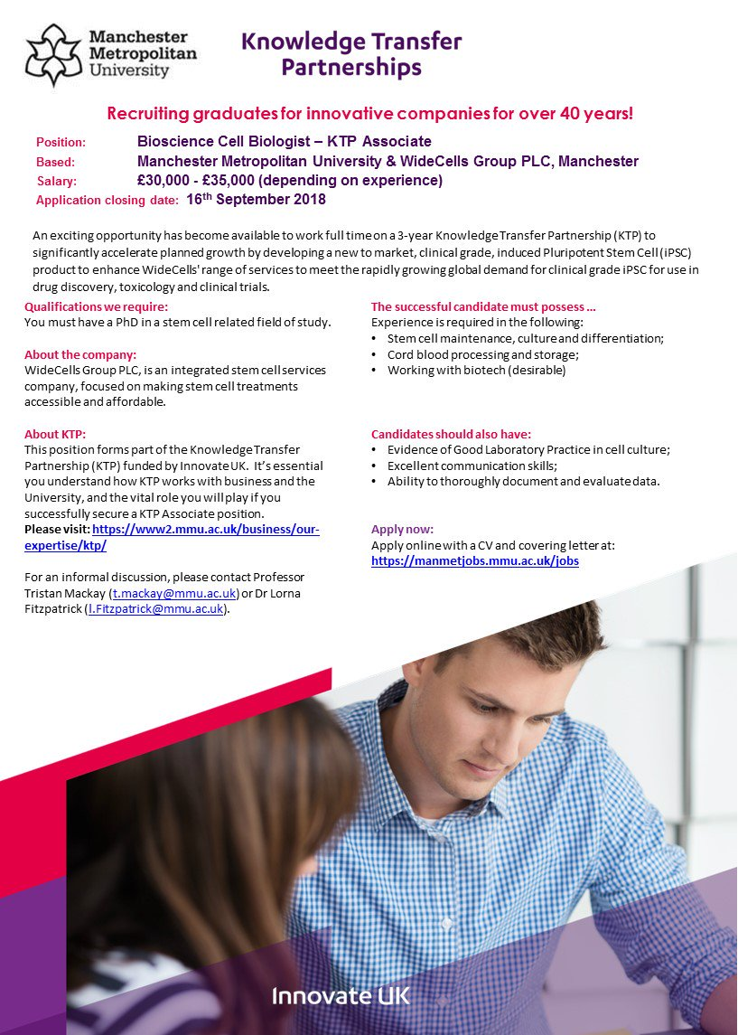 Great #opp for a Bioscience Cell Biologist to work on a #KTP with @ManMetUni and @WideCells_Group. To find out more and apply, please visit  https:// manmetjobs.mmu.ac.uk/jobs/  &nbsp;   @innovateuk @ManMetJobs @ktnuk_ktp<br>http://pic.twitter.com/d98QzBy6LJ