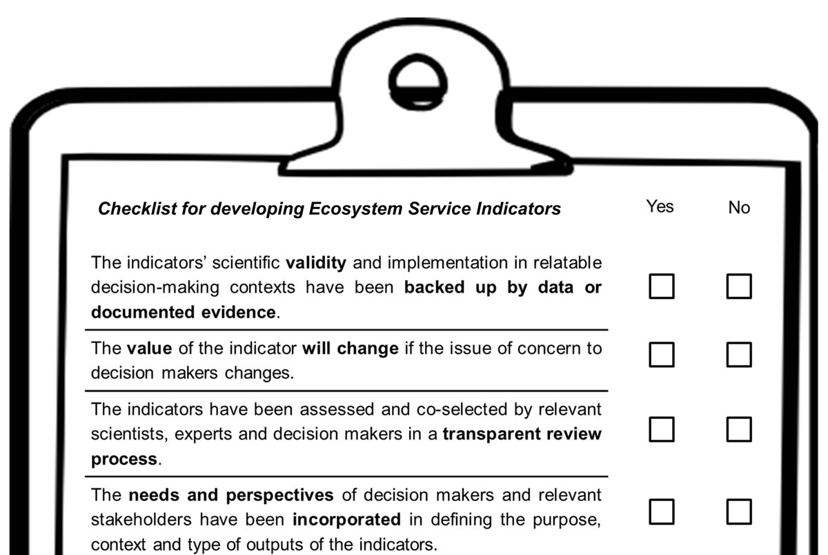Do you want your #ecosystemservices indicators &amp; information to reach decision makers? Our #openaccess paper offers 16 criteria and a checklist to consider, related to aspects of credibility, salience, legitimacy &amp; feasibility Link   https://www. sciencedirect.com/science/articl e/pii/S1470160X18304606?_rdoc=1&amp;_fmt=high&amp;_origin=gateway&amp;_docanchor=&amp;md5=b8429449ccfc9c30159a5f9aeaa92ffb &nbsp; … <br>http://pic.twitter.com/5SUU30wR6L