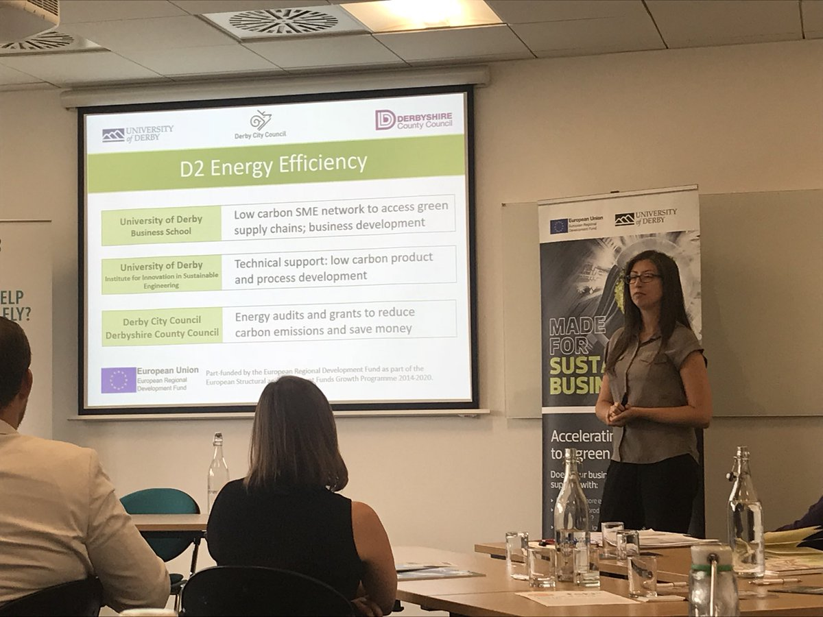 At the #FSBconnect Derby workshop - Gemma Sylva talking about the D2 Energy Efficiency project. Check for more details at  https://www. derby.gov.uk/environment-an d-planning/climate-change-and-energy-management/d2ee/ &nbsp; …   @_D2Energy #greeneconomy #climatechange #derby #energyefficiency <br>http://pic.twitter.com/utZNrxz9NH