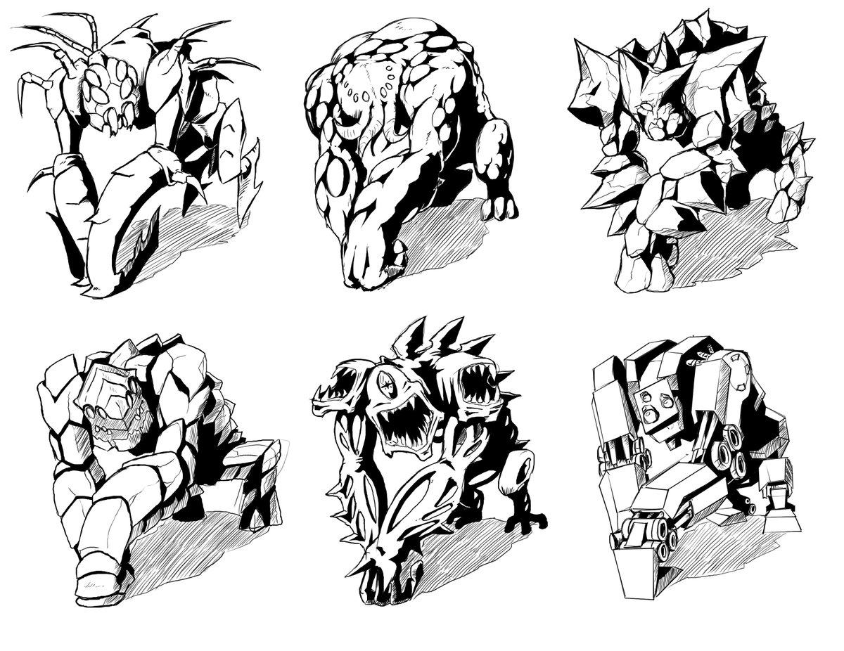 Our artist was sketching the same type of enemy for multiple different planets of @MindSeizeGame, before we had actually figured out the places where player would visit. Some are pretty cool and could actually be used for an enemy. Favorites?#indiegame #gameart #gamedev #indiedev <br>http://pic.twitter.com/vbzdXJKca7