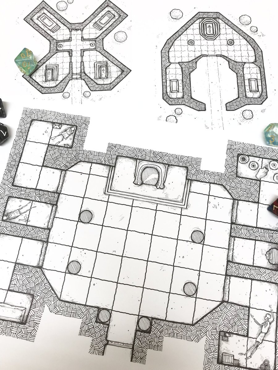 Three Crypts ready to scan and upload. One a Dungeon Room the others Geyster and Cadio patron Crypts.  #dnd #dnd5e #map #cartography #rpg #ttrpg #dungeon<br>http://pic.twitter.com/WYaKdGRA63