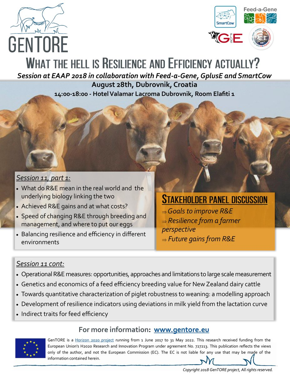 Only two weeks until GenTORE&#39;s session during the 69th Annual EAAP meeting in Dubrovnik, Croatia, on &#39;What is resilience and efficiency, actually?&#39; Don&#39;t miss it!  https://www. gentore.eu/eaap-2018-sess ion.html &nbsp; … <br>http://pic.twitter.com/EnaaNVTHq9