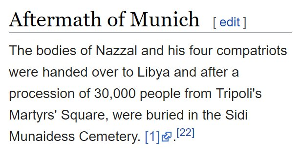 After all headlines from the Daily Mail, BBC &amp; Guardian that Corbyn laid a wreath to the Munich Terrorists, it turns out the terrorists aren&#39;t even buried in Tunisia but in a cemetery in Libya  No wonder trust in the media is at an all time low  https:// en.wikipedia.org/wiki/Yusuf_Naz zal &nbsp; … <br>http://pic.twitter.com/h65Meu4Y1W