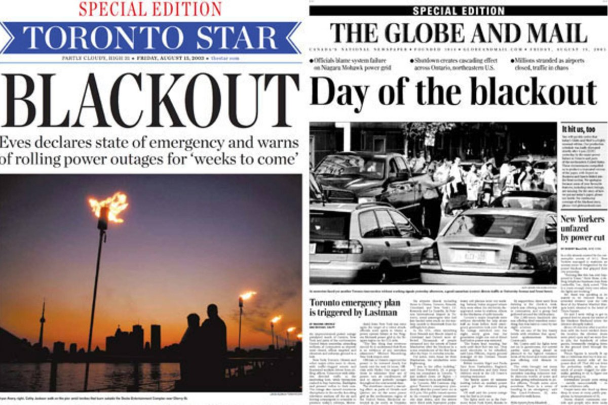 15 years ago TODAY in 2003, 50 Million People Lost Power in a blackout that hit the northeastern United States and part of Canada. Do you remember where you were? what you were doing?