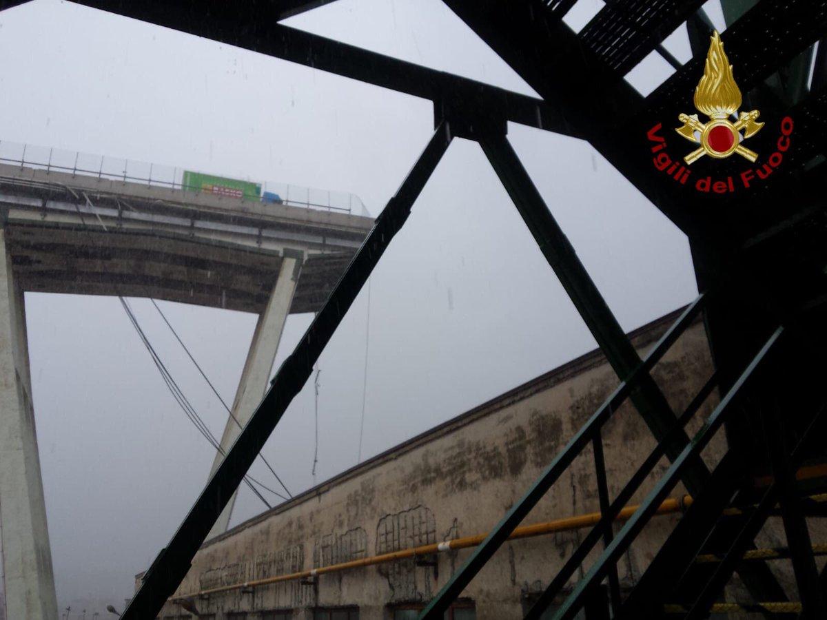 JUST IN: A major bridge has collapsed near the city of Genoa, Italian police say.