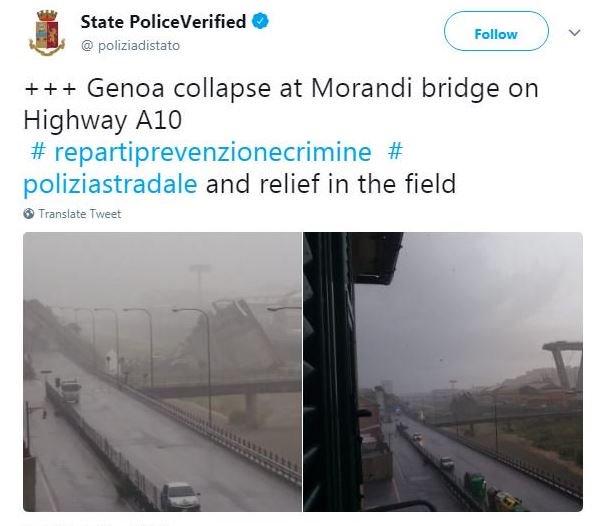 Colapsó un puente en Génova: se derrumbó el puente de una autopista. Los bomberos creen que varios autos cayeron al vacío  https://t.co/FGoLCsReyj