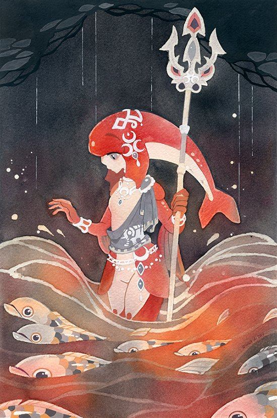 Princess Mipha from Breath of the Wild. Painted last year as a patreon request (cold press paper, watercolors and gouache). I love this game.  <br>http://pic.twitter.com/EUw1KCUfcY