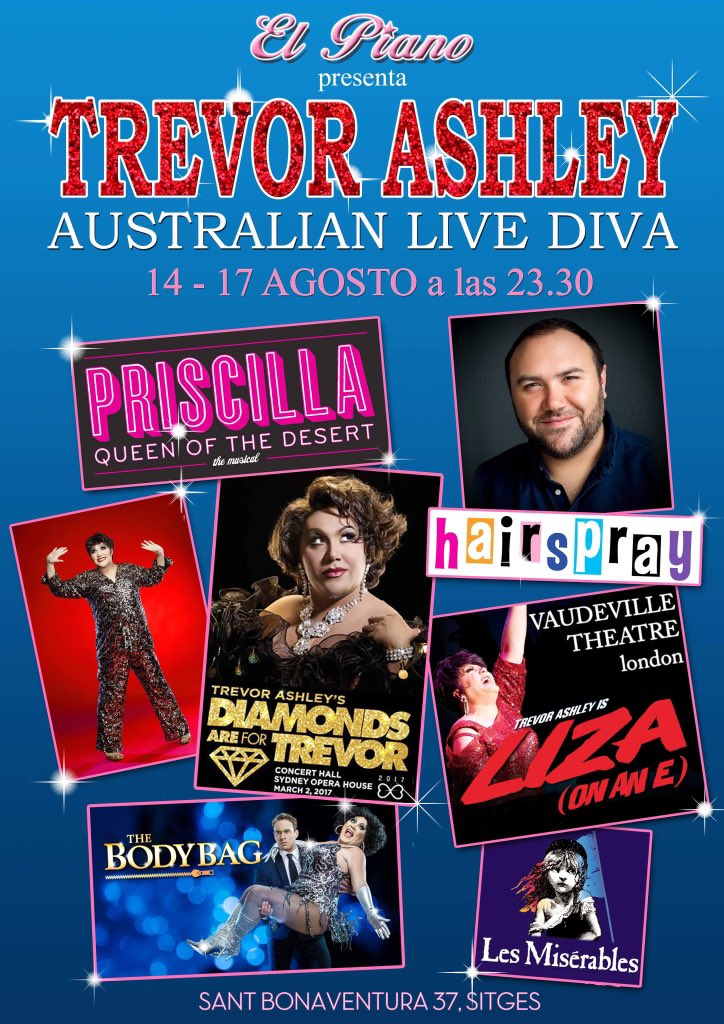 Tonight we proudly present the return of Australian super diva - @Trevor_Ashley  ... #elpianositges #TrevorAshley #sitges <br>http://pic.twitter.com/NBe7zgtdQZ