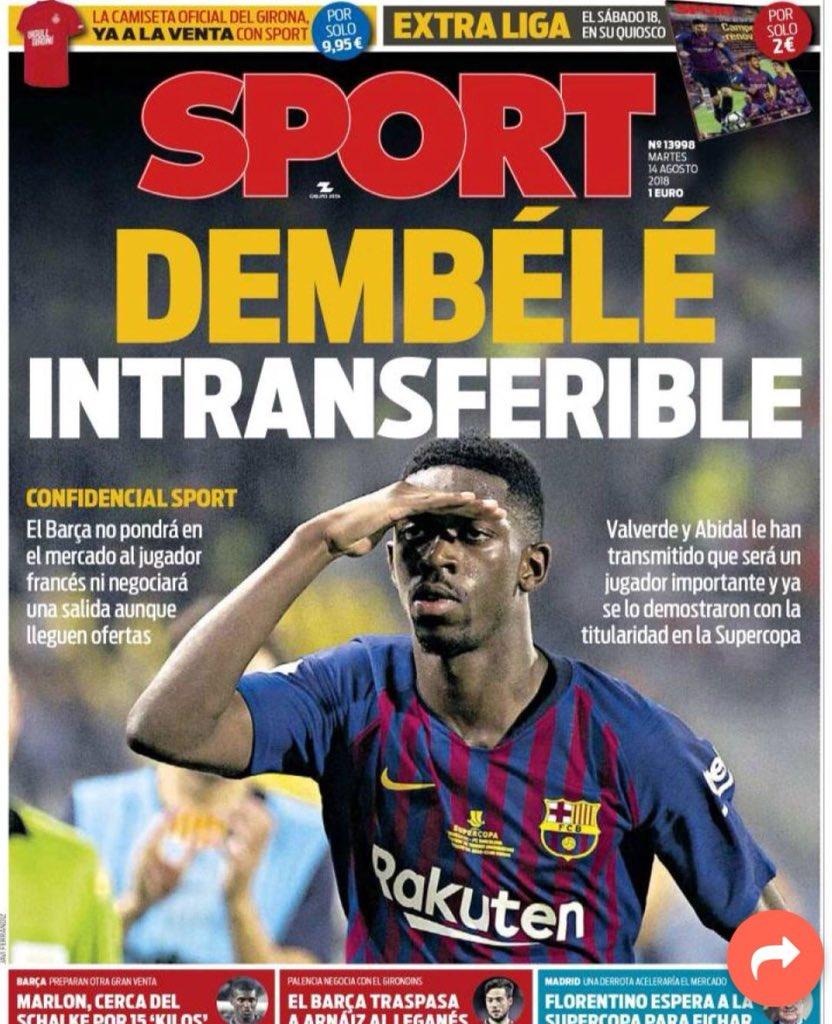 Ousmane Dembélé a été déclaré intransférable par le FC Barcelone.  Valverde et Abidal ont informé le joueur qu'il jouera un rôle principal pour la saison à venir. (@sport)