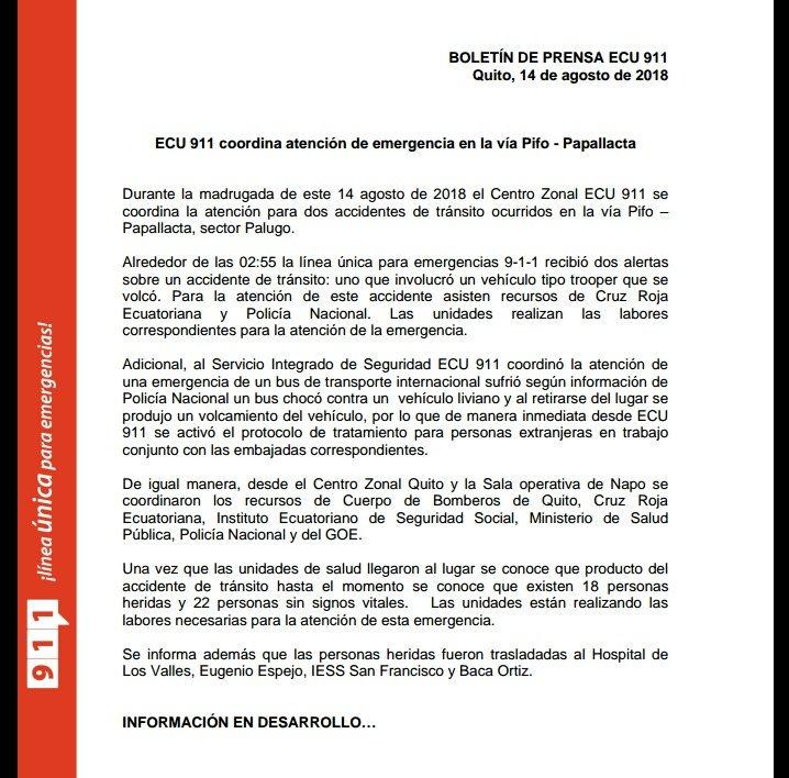 ATENCIÓN | Se confirman 23 personas fallecidas en accidente de tránsito sucedido en la vía Pifo-Papallacta a las 02H55.