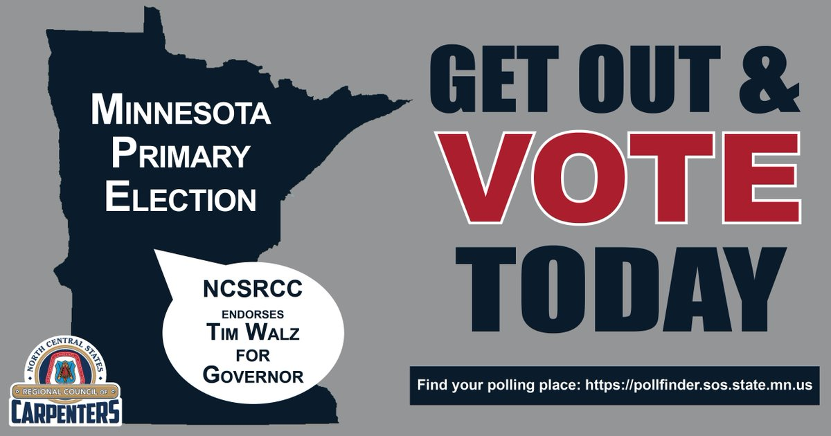 MINNESOTA: Don&#39;t forget to #vote in today&#39;s primary #election! Polls open 7 a.m. - 8 p.m. Find your local polling place at  https:// pollfinder.sos.state.mn.us  &nbsp;  <br>http://pic.twitter.com/CfSVTM2QfL