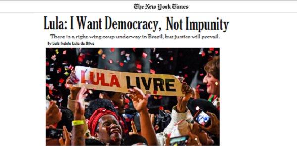 Lula, no NYT: 'Eu quero democracia, não impunidade' - https://t.co/cqLeVZZMea