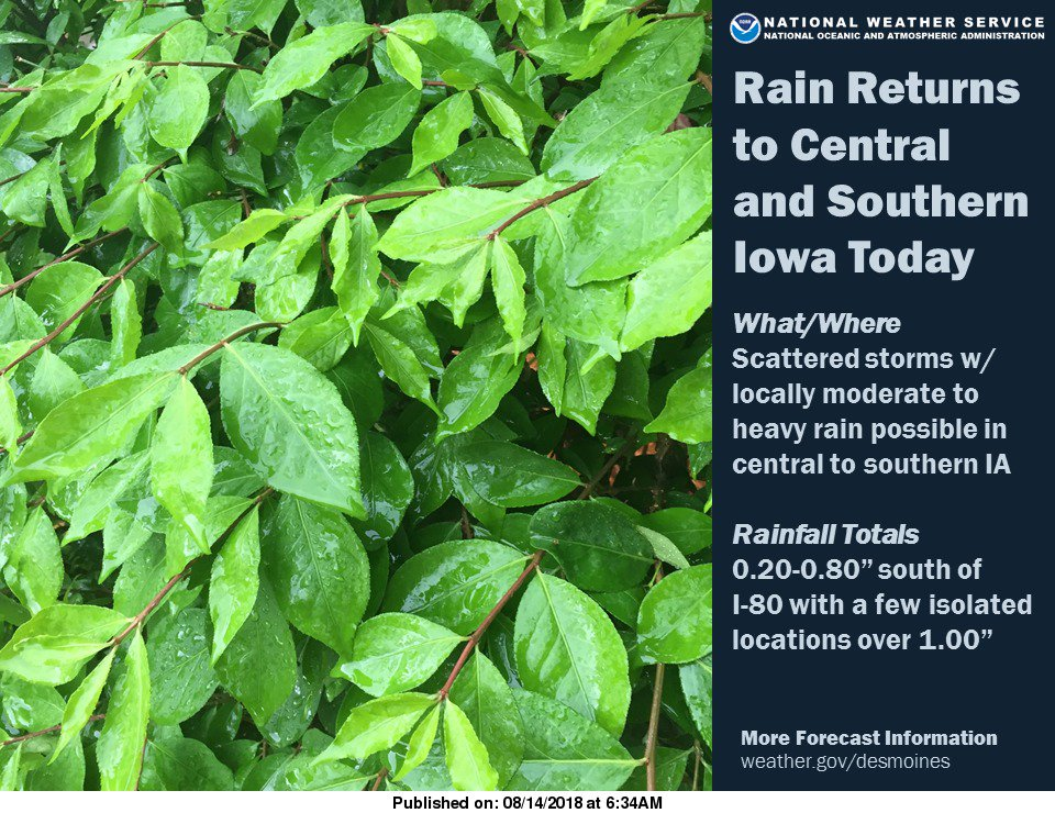 Rain gradually spreads across central and southern Iowa today into tonight. #iawx