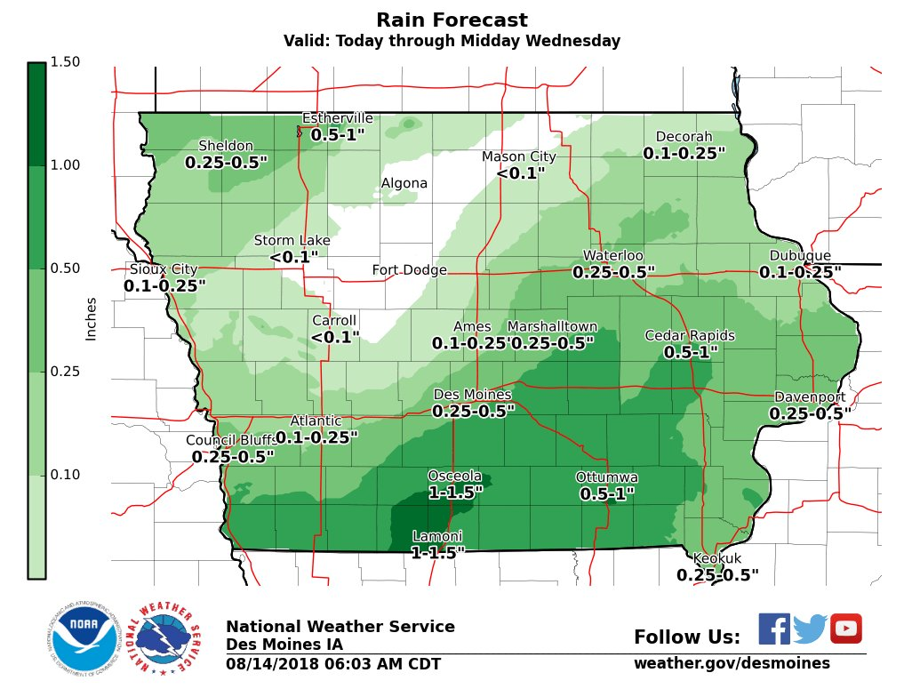 Some much needed rainfall today through Wednesday morning over southern Iowa.  #iawx