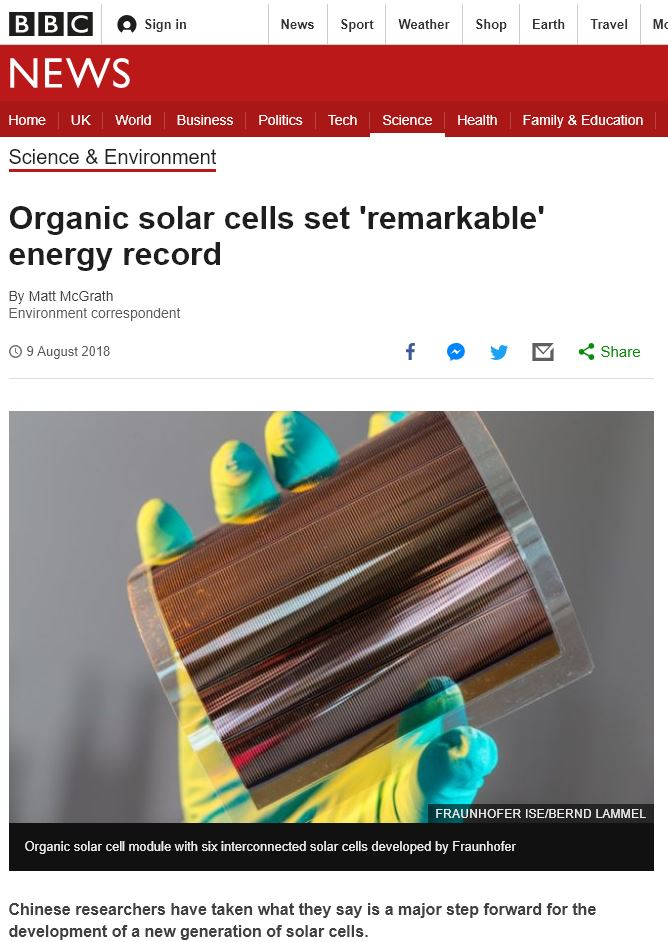 &quot;#Organic #solar cells set &#39;remarkable&#39; #energy record&quot; @BBCTech @BBCWorld   #Organic &amp; #PrintedElectronics everywhere    https://www. bbc.co.uk/news/science-e nvironment-45132427# &nbsp; … <br>http://pic.twitter.com/zGx0MjLhQX