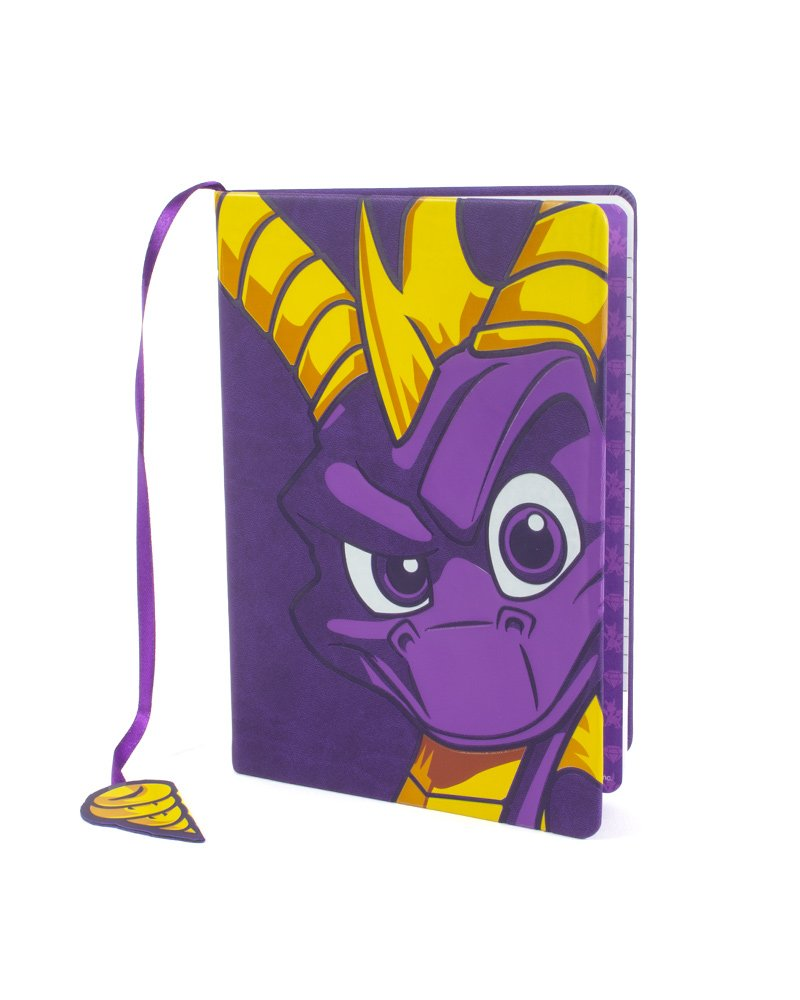Here&#39;s a closer look at our official #SpyrotheDragon notebook!  Perfect for jotting down all your notes, this A5 lined notebook features tons of little Spyro details - such as the tail bookmark!  You can preorder yours (and the rest of our range) here:  http:// bit.ly/2MHWJTc  &nbsp;  <br>http://pic.twitter.com/t8LroVyVeM