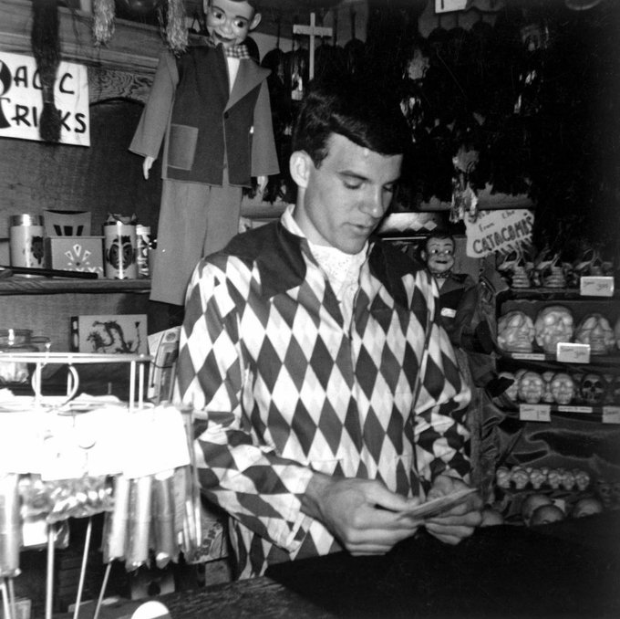 Wishing a happy birthday to Steve Martin, seen here as a young man working in Disneyland at Merlin s Magic Shop.