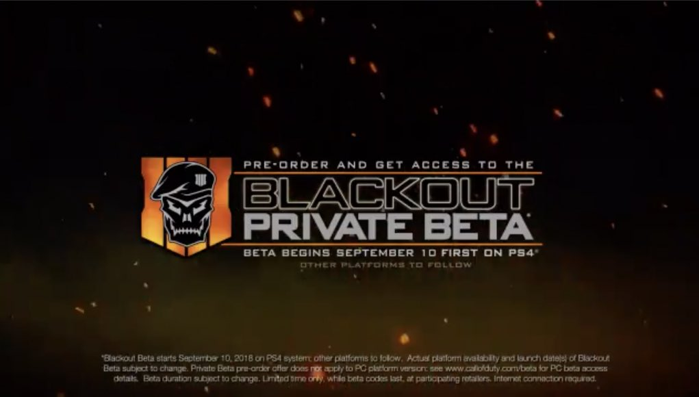 Are you ready for #Blackout?   Beta begins September 10 on PS4. Other platforms to follow.  https:// charlieintel.com/2018/08/14/bo4 -blackout-beta-dates/ &nbsp; … <br>http://pic.twitter.com/MLWVyr9amX